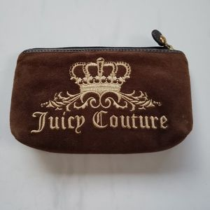 Juicy couture brown leather velour makeup bag